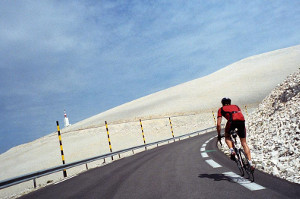 Cyclist on the Ventoux
